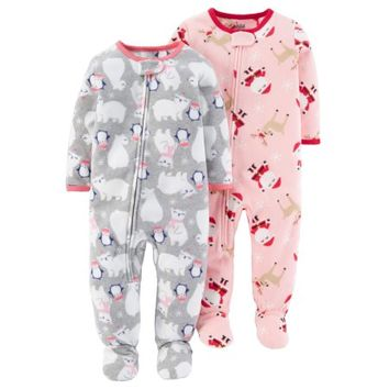Child of Mine by Carter's Baby Toddler Girl Blanket Fleece Pajamas, 2 Pack - Walmart.com