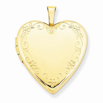 14k Yellow Gold Flower Vine Border Heart Locket