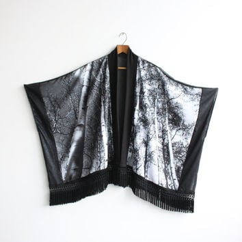 "The ""Aspen II"" Fringe Kimono - Silver Trees Photo Print - Niels Kierulf Collaboration - One Size"