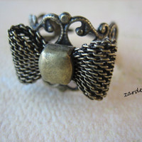 3PCS - Filigree Ring Blanks with Bow - Adjustable - Antique Brass, Copper and Silver Toned