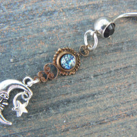 galaxy moon belly ring BLACK  blue harlequin in beach summer moroccan belly dancer indie gypsy hippie morrocan boho and hipster style