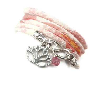 Japanese Chirimen Wrap Bracelet with Lotus by charmeddesign1012
