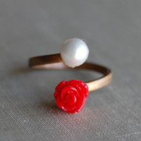 $10.00 Red Rose Vintage Wrap Ring by theriveriseverywhere on Etsy