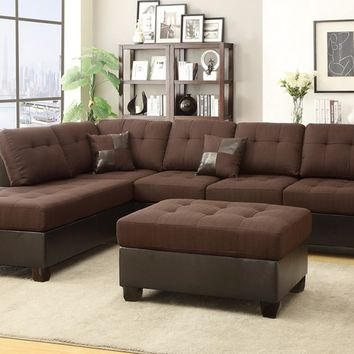3 pc Madison collection 2 tone Chocolate linen like fabric and faux leather sectional sofa with reversible chaise and ottoman