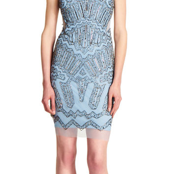 Fully Beaded Halter Cocktail Dress - Adrianna Papell