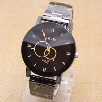luxury watch men Black Stainless Steel Round Quartz Wrist Watches