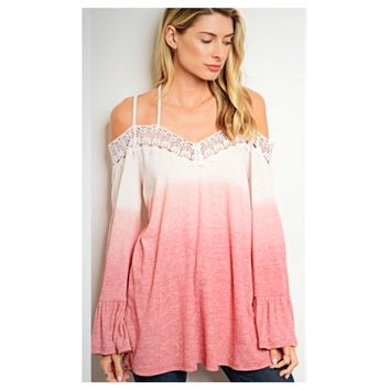 Adorable Me, Off Shoulder Pink Ombre' Top