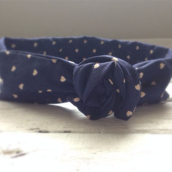 Navy Blue Hearts 4th of July Patriotic America Music Festival Summer Concert Hippie Twist Head Scarf Dolly Bow Wire Headband Bun Wrap
