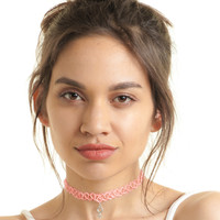 Pink Translucent Girl Power Tattoo Choker