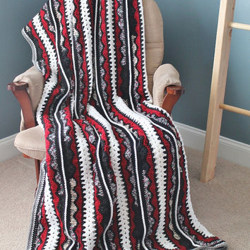 Afghan - Handmade Crochet Queen Size Blanket - Red, White, and Black
