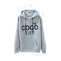New Womens Coco Print Hoodie Coat Sweatshirt Tracksuit Tops Outerwear