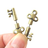 Fake Gauge Earrings: Antique Key Shaped Faux Plug Stud Earrings in Brass