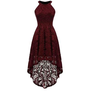 Elegant Cocktail Dresses Lace High Low Vintage dress Evening Party Gowns For Graduation Prom