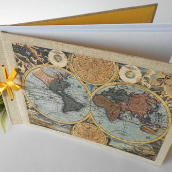 Old world map sketchbook journal with 200 pages, A4,A3,A5 refillable rustic sketchbook- personilized journal with ribbon lash down binding