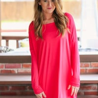 Piko Tunic Dress Long Sleeve - Watermelon