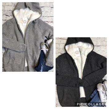 Sherpa Sweater Fully Lined Zip Up Hoodie Jacket In Charcoal Or Heather Gray