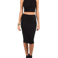 Basic Cropped Tank and Skirt Set - Medium