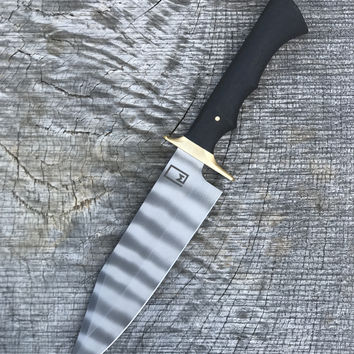 """7.5"""" Bowie Sporting Knife with Bog Oak and Brass"""
