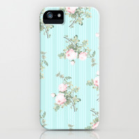 Shabby chic roses pink and mint iPhone & iPod Case by Mercedes