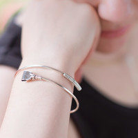 Crop Me Softly - Sterling Silver Bypass Open Bracelet