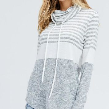Heather Gray Striped Cowl Neck Top