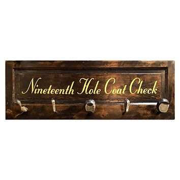 Nineteenth Hole Coat Check Vintage Door Coat Rack with Authentic Vintage Club Hooks