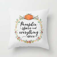 Pumpkin Spice and Everything Nice Throw Pillow, Autumn and Thanksgiving Art Pillow, Fall Colors Home Decor, Fall Wreath Design