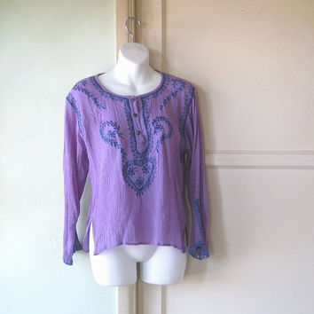 Blue Embroidered Purple Crinkly Vintage Peasant Top; Small-Med - Long Sleeve, Folkloric Purple Top - Crinkly Rayon Peasant Top - Bohemian