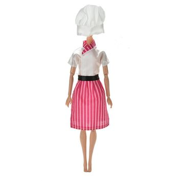 Doll Clothing Handmade Cosply Costume Chef Clothes For Barbie Dolls Hat For 1/6 BJD Dolls Kids Toy 1Set=3Pcs