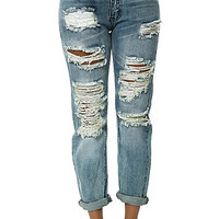 The LA Distressed Boyfriend Jeans in Blue