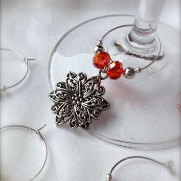 Classy Holiday Poinsettia Wine Glass Charms