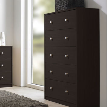 Contemporary Bedroom 5-Drawer Chest in Coffee Brown Finish