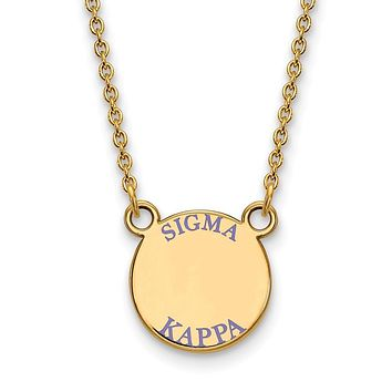 14K Plated Silver Sigma Kappa Small Enamel Necklace