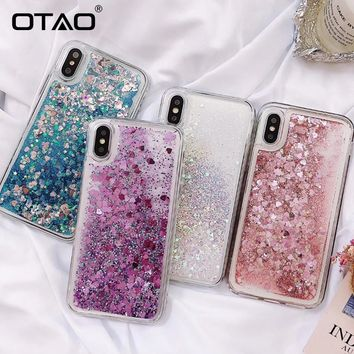 OTAO Love Heart Star Glitter Phone Case For iphone X 8 7 6 6S Plus Cases Dynamic Liquid Quicksand Back Cover For iphone 5 5S SE