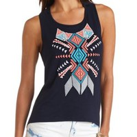 Tribal Graphic Racerback Tank Top by Charlotte Russe