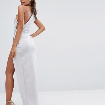 ASOS One Shoulder Maxi Dress with Exposed Zip at asos.com