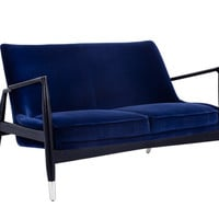 Frigo Giotto Navy Fabric Settee - Midcentury - Loveseats - by Bright Modern