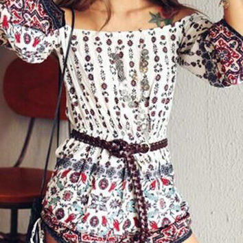 Printed High Waist Thin  Rompers without Belt