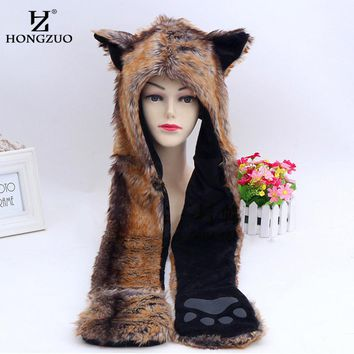 HONGZUO Faux Fur Cap Animal Hat Ear Flaps Hand Pockets 3in1 Animal Hood Hat Wolf Plush Warm Animal Scarf Cap Gloves PC194