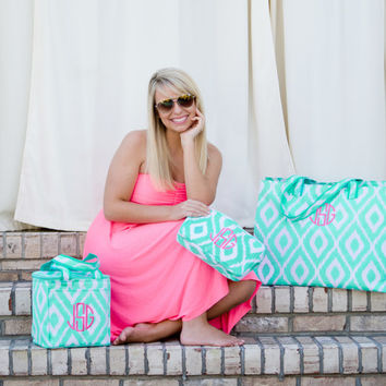 Mint  Ikat Beach Collection Combo - Includes Beach Bag, Cooler and Accessory Bag!  Free Personalization!