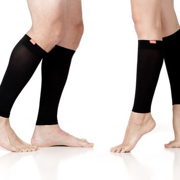 Unisex Compression Leg Sleeves: Black (Nylon)