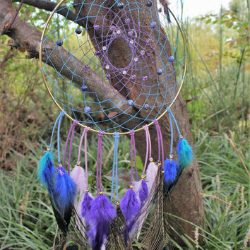Large Purple & Blue, Amethyst, Sodalite, Dream Catcher,  10 inch Steel Ring, Leather, Sinew, and Colored Rooster Feathers