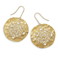 Ornate Matte Finish Gold Tone Fashion Earrings