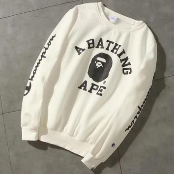 Champion X Bape Aape Trending Loose Print Logo Round Collar Sport Top Sweater Casual Sweatshirt White