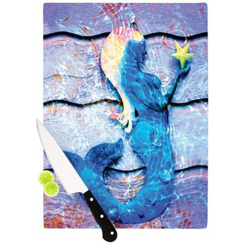 "Anne LaBrie ""Mermaid Starlight"" Aqua Blue Cutting Board - Outlet Item"
