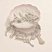Sewing, Knitting Themed Charm Bracelet  - Seamstress - Knitter