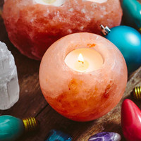 Smooth Rock Salt Candle Holder