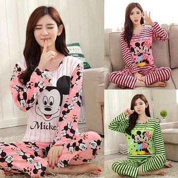 Women Clothes Set Pregnant Pajamas Set Sleepwear Nightgown Home Soft Cotton Long Sleeve Tops&Pants Maternity Pajamas Mickey