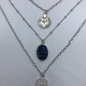 Hamsa Hand with Blue Quartz Druzy and Tibetan Coin Triple Layered Silver Necklace