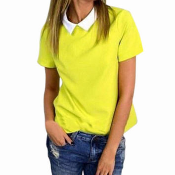 Peter Pan Collar Short Sleeve Chiffon Shirt